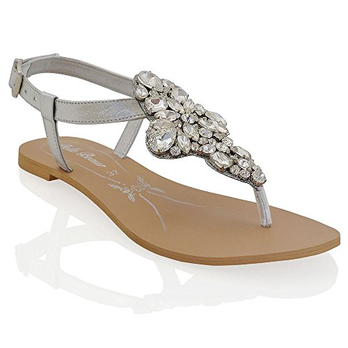 Essex Glam womens t-bar silver synthetic sparkly rhinestone flat toe post sandal shoes 9 B(M) US (T-bar Flat Sandal)