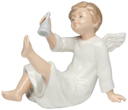 Cosmos Gifts 10422 Angel with Bell Ceramic Figurine, 2-3/4-Inch