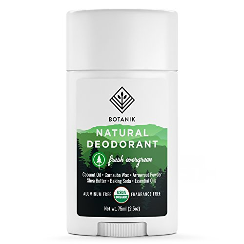 Eco Friendly Deodorant - Botanik Natural Deodorant for Men - Fresh Evergreen - Organic - Aluminum Free - 2.5 oz