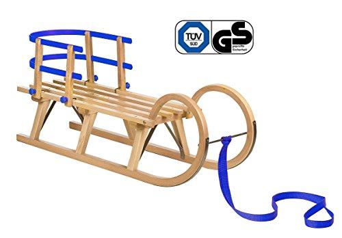 Impag® Hörnerschlitten mit Zuggurt und Lehne Blau 125 cm
