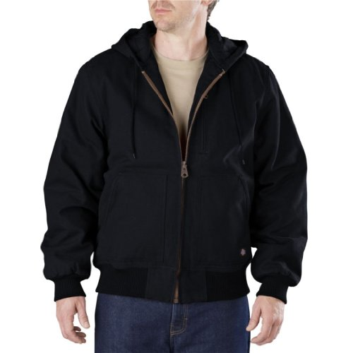 Dickies Men's Sanded Duck Hooded Jacket, Black, Medium (Sanded Hooded Work Jacket)