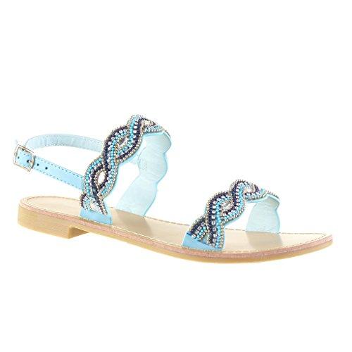 Angkorly - Zapatillas de Moda Sandalias abierto mujer perla joyas Talón Tacón ancho 2 CM - Azul