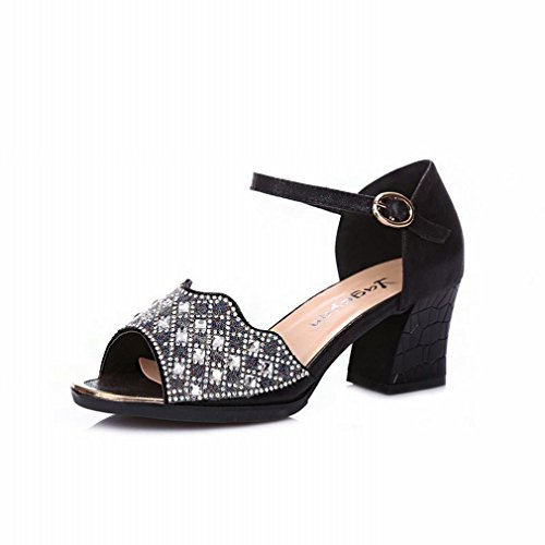 Shoes Buckle Jazz Samba Ankle Black Water Ladies Onecolor Dance Sandals Drilling BYLE Sandals Summer Strap Leather Modern wH6xqpq8Y
