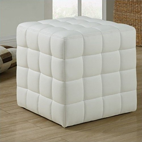 Monarch Specialties Leather-Look Ottoman, (Cube Stool)