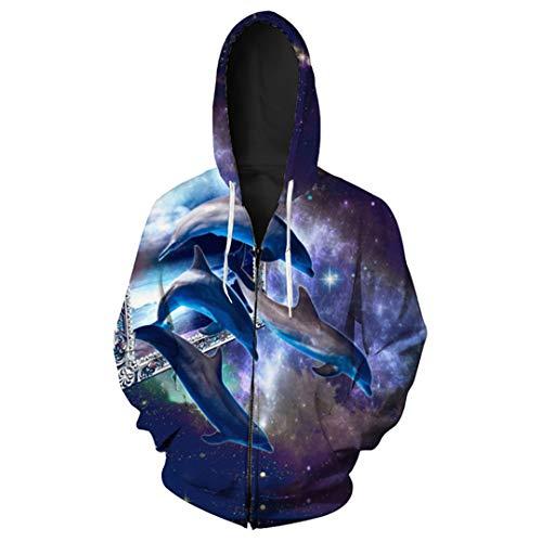 Funny Stars Crossing Dolphin Print Zip Hooded Sweatshirt Men's wear YU3034 S