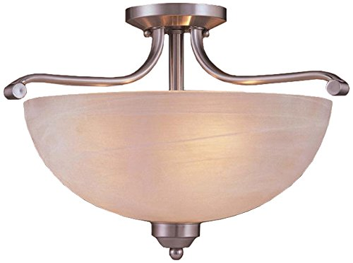 Minka Lavery 1424-84-PL, Paradox Round Glass Lighting Fixture, Semi Flush Mount Ceiling Light, 3 Light - 300 Watts, Nickel