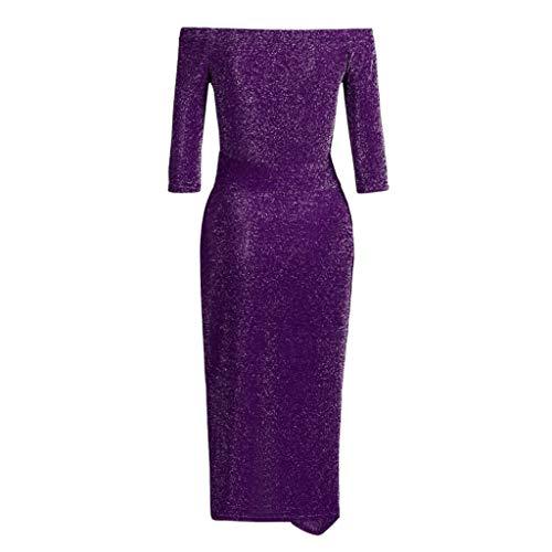 Longue Manches Violet Couleur Dénudées Shining Asymétrique Bodycon Épaules Robes Soirée Robe xxl Maxi Longues Amlaiworld Unie Femmes À Split S YX7HwS7Zz