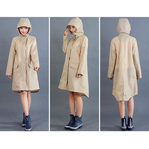 L'eau Poncho Avec Et Kaki Imperméable Mode À De Zipper Manches Pluie Extérieure Wuxi Rainwear Veste Légère Femmes Longues Capuche xAfw7qZO0