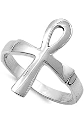 Sterling Silver Egyptian Cross Ankh Ring (Size 4 - 11)