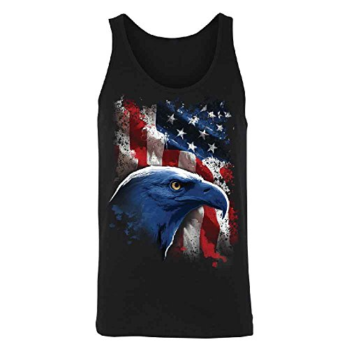 American Icon Bald Eagle Men's Tank Top 4th of July USA Flag Shirts Black Large -