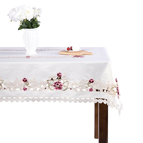 Light Colored Modern Pastoral Home Furnishing Openwork Embroidery Tablecloth Rectangular 55 x 78 inch Approx