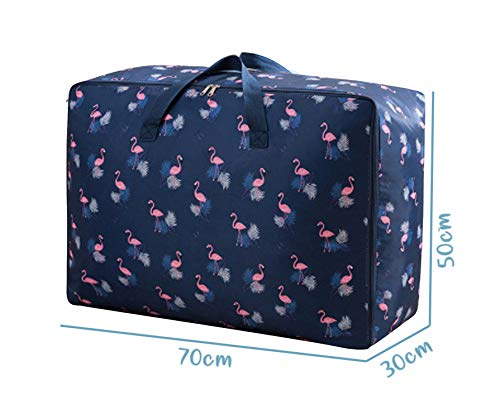 House of Quirk Extra Large Oversized Handy Storage Bag Heavy Duty Travel Luggage Caddy Organizer Laundry Bags Duffel Space Saver with Web Handles for Quilt Beddings Blanket - Blue Flamingo 5
