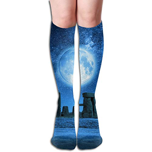 Ties Stonehenge - YangAme Full Moon Stonehenge 50 Full Comfort Knee High Socks Cotton Long Knee High Socks