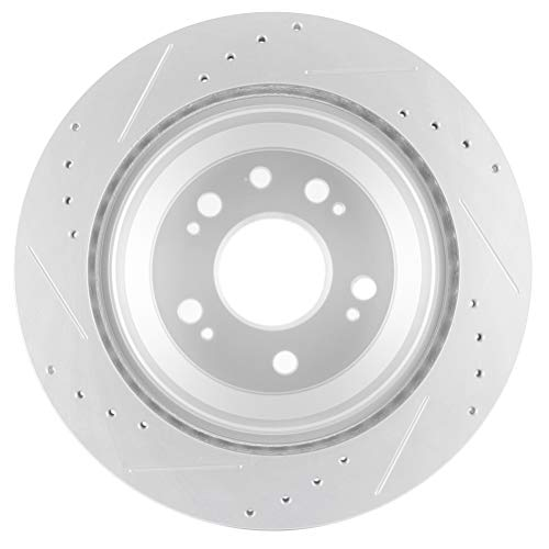 Rear Cross Drilled Rotors /& Ceramic Pads for 2005-2012 Acura RL Base Front