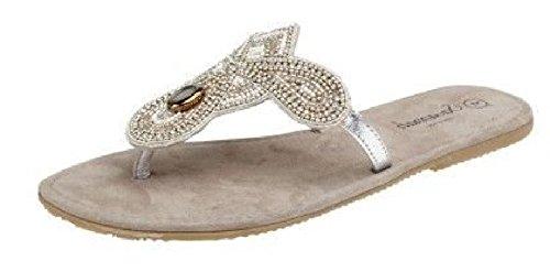 Saute Styles - Sandalias de vestir para mujer blanco y plateado