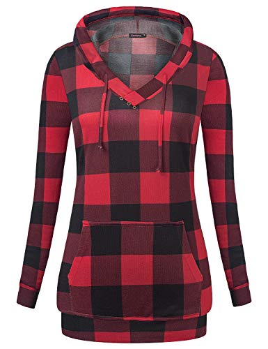 Anmery Plaid Sweaters Long Hoodie for Women Sweatshirts Plaid-Red L