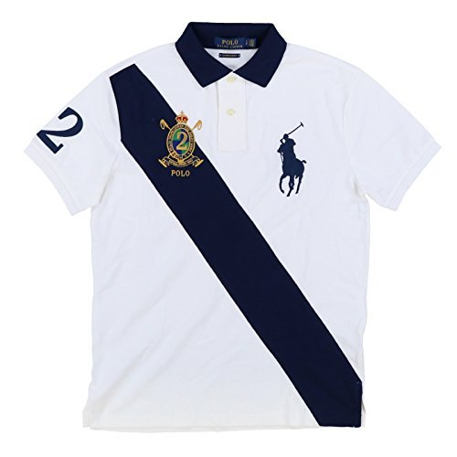 568ca0b1 Galleon - Polo Ralph Lauren Men's Big Pony Crest Custom Slim Fit Mesh Sash Polo  Shirt (XX-Large, White Mu)