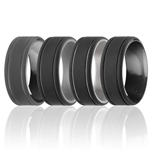 ROQ Silicone Wedding Ring for Men - Duo Collection Lines Style - 4 Pack Silicone Rubber Wedding Bands - Classic Design - Black Camo, Black, Silver, Grey Colors - Size 11
