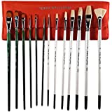 Artist Paint Brushes with Travel Carry Case | 13 pc. Set of Premium Q. Handmade Paintbrushes | 7 Natural Bristle + 6 Synthetic Brush for Acrylic, Oil or Gouache Paint + Professional Travel Bag (Red)