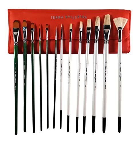 (Artist Paint Brushes with Travel Carry Case | 13 pc. Set of Premium Q. Handmade Paintbrushes | 7 Natural Bristle + 6 Synthetic Brush for Acrylic, Oil or Gouache Paint + Professional Travel Bag (Red))