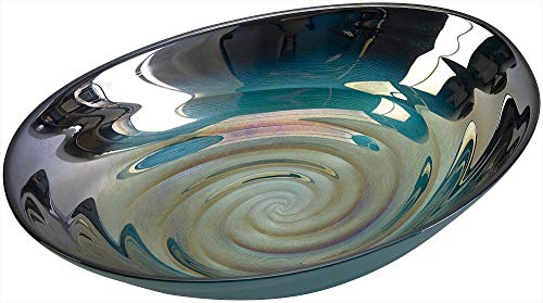 IMAX 83101 Moody Swirl Glass Bowl with Glossy Finish in Ocean Colors - Food Safe Dishware - Easy to Clean Home Décor Decorative Bowl. Diningware, Serving Bowls, Tableware (Mosaic Home Decor)