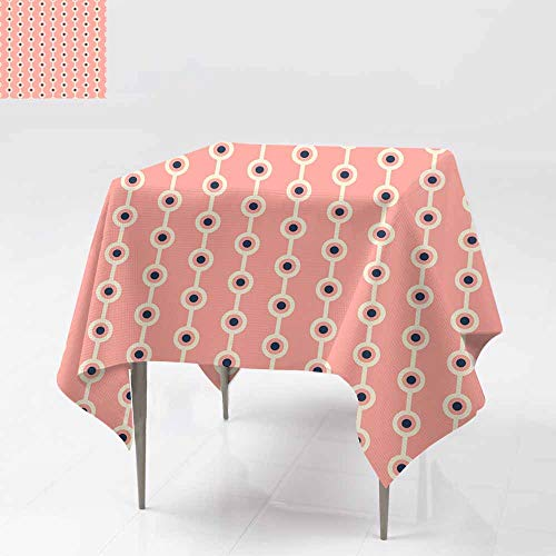 - Fbdace Resistant Table Cover,Abstract dot Pattern Wallpaper with Stripes Illustration Resistant/Spill-Proof/Waterproof Table Cover 36x36 Inch