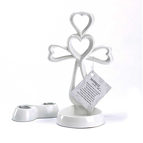 Dicksons Eternal Cross Heart Marriage Takes Three White Pillar and Taper Candlestick Holder Set of 2