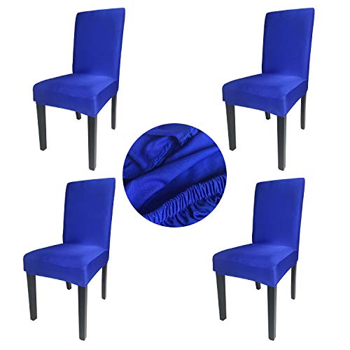 Gold Fortune Spandex Fabric Stretch Removable Washable Dining Room Chair Cover Protector Seat Slipcovers Set of 4 (Royal Blue)
