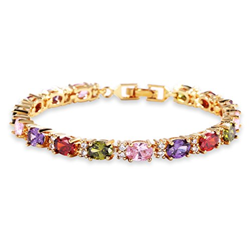 GULICX Gold Plated Bangle Roman Tennis Oval Link Tennis Bracelet Multi Coloured Cubic Zirconia