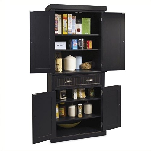 home styles 5033-69 nantucket pantry, distressed black finish