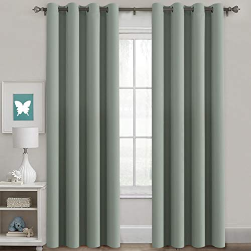 H.VERSAILTEX Window Treatment Blackout Thermal Insulated Room Darkening Solid Grommet Curtains/Drapes for Bedroom (Set of 2 Panels,52 by 84 Inch Long,Sage) (Panels Green Sage Window)