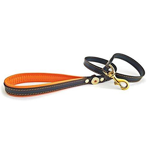 Black & orange Bestia  Bijou genuine leather dog lead. 43 inch long, 0.8 inch wide. Heavy snap. Rivet decoration