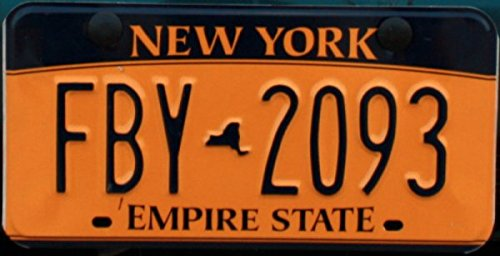 New York Empire State License Plate black numbers on - New York Plate Custom
