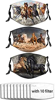 3Pcs Running Horse Face Mask with Filter Bag Washable Balaclava Breathable Reusable Adjustable Fabric Face Mas