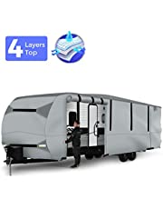 BougeRV Travel Trailer RV Cover Waterproof Lightweight RV Camper Cover Fits 27'-29' Travel Trailers Camper Monorhome RV