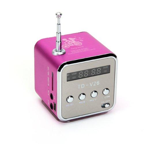 TD-V26 Portable Mini Digital Speaker with Micro SD / TF / USB /FM (Pink)