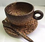 Natural Sugar Palm Wood Coffee Cup ,Handmade Wooden , Brown 200 ml
