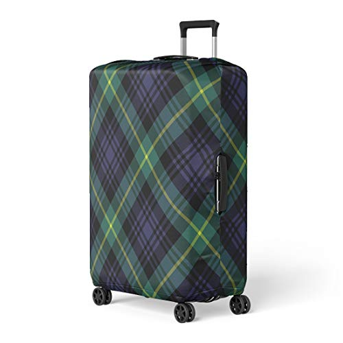 Semtomn Luggage Cover Green Plaid Gordon Tartan Check Pattern No Gradients Blue Travel Suitcase Cover Protector Baggage Case Fits 18-22 Inch