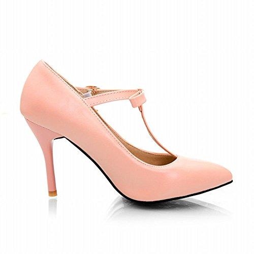 MissSaSa Damen eleant high-heel T-Spange Pointed Toe Schnalle Pumps mit Schleife und Stiletto Pink