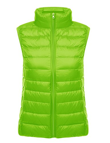 Collar Lady High Waistcoat Women's Ultra Zip Outwear Padded Puffer Green Sleeveless Neck Kelly Cotton Packable Bodywarmer Stand Quilted Gilet Down HAHAEMMA Jacket Vest wpIPvqCq
