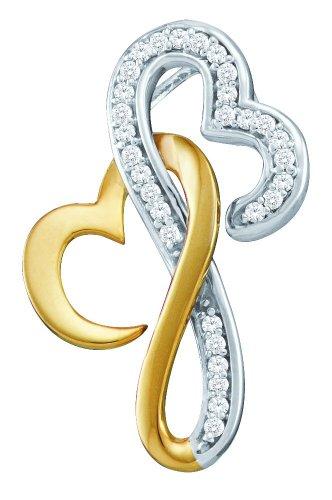 10 k or blanc Diamant 0,10 Dwt Rough-Pendentif coeur or de haute qualité Or 9 carats JewelryWeb