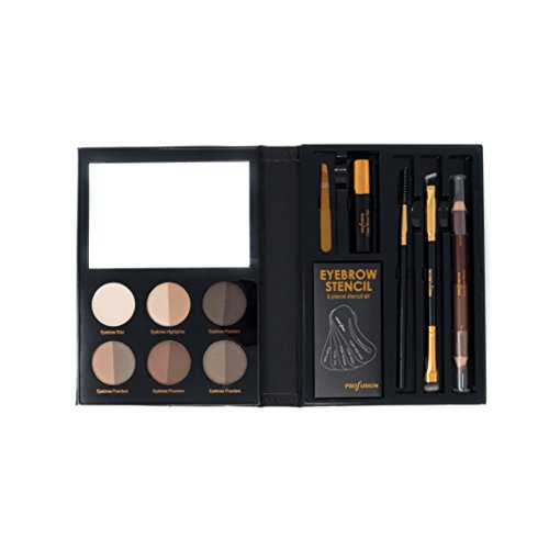 Profusion Cosmetics - Brows - Professional Eyebrow Powder Highlighter Eyebrow Wax Eyebrow Gel Eyebrow Pencil Brushes Plucker Included (Brow Palette)