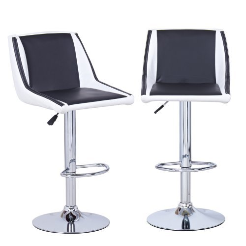 Adeco Cushioned Leatherette Hydraulic Lift Adjustable Mid-Back Barstool Chair Chrome Finish Pedestal Base (Set of 2), Black/White
