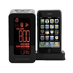 Memorex MA4203BK Clock Radio with Flip Down Dock for iPod and iPhone