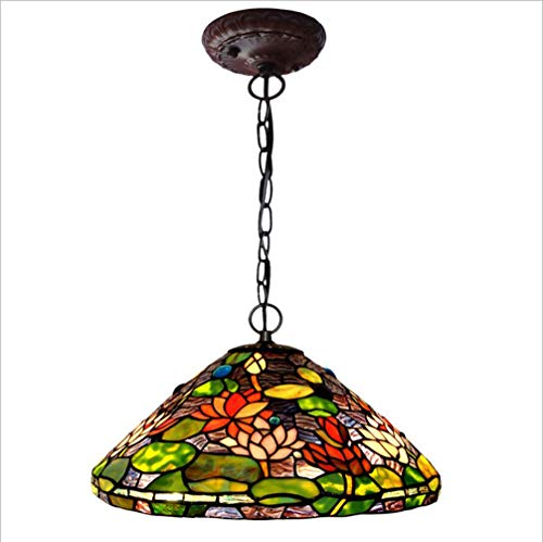 Tiffany Style Cailing Light Water Lily Pattern Stained Glass Lampshade Chandelier With Metal Chain, Bedroom Living Room Ceiling Lamp, 110-240V/E27x2 (No Light Bulb) (UnitCount : - Tiffany Water Lily Hanging