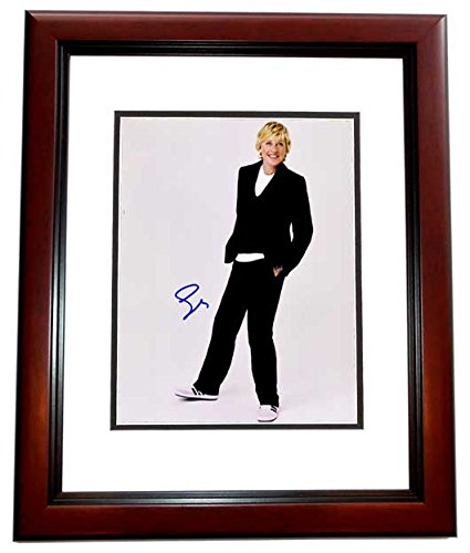 Ellen Degeneres Signed - Autographed Comedian TV Host 11x14 inch Photo MAHOGANY CUSTOM FRAME - Guaranteed to pass...