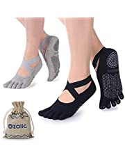 Ozaiic Yoga Socks for Women with Grips, Non-Slip Five Toe Socks for Pilates, Barre, Ballet, Dance, Workout, Fitness  Cotton, Size 2.5-9