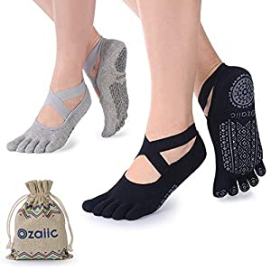 Ozaiic Yoga Socks for Women with Grips, Non-Slip Five Toe Socks for Pilates, Barre, Ballet, Fitness