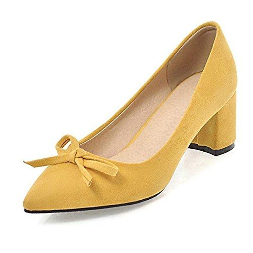 DIMAOL Chaussures Pour Femmes de Similicuir Printemps Automne Comfort Heels Talon Chaussures Bowknot Pour Partie & Robe de Soirée Rose Jaune Beige Noir,Jaune,US8/EU39/UK6/CN39