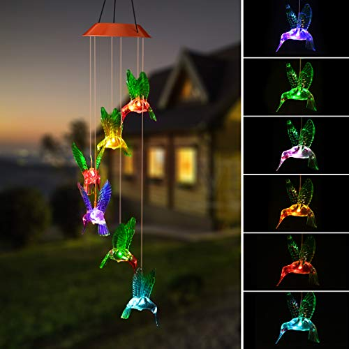 PATHONOR Solar Wind Chime, Hummingbird Color-Changing Solar LED Mobile USB Chargeable Wind Chime Waterproof Outdoor Decor for Valentines Gift Home Party Balcony Porch Patio Garden, Upgraded Version